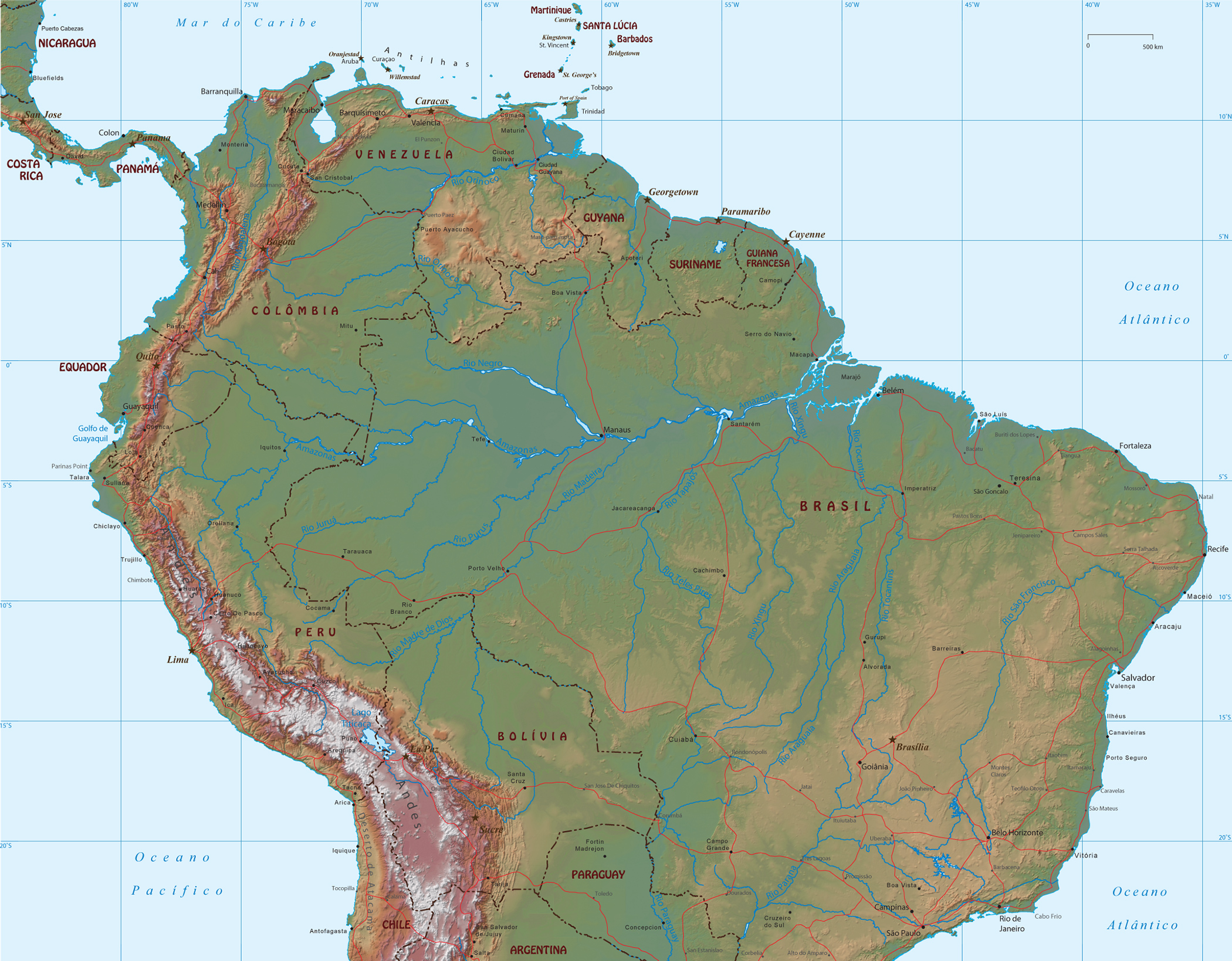 mapas da américa do sul