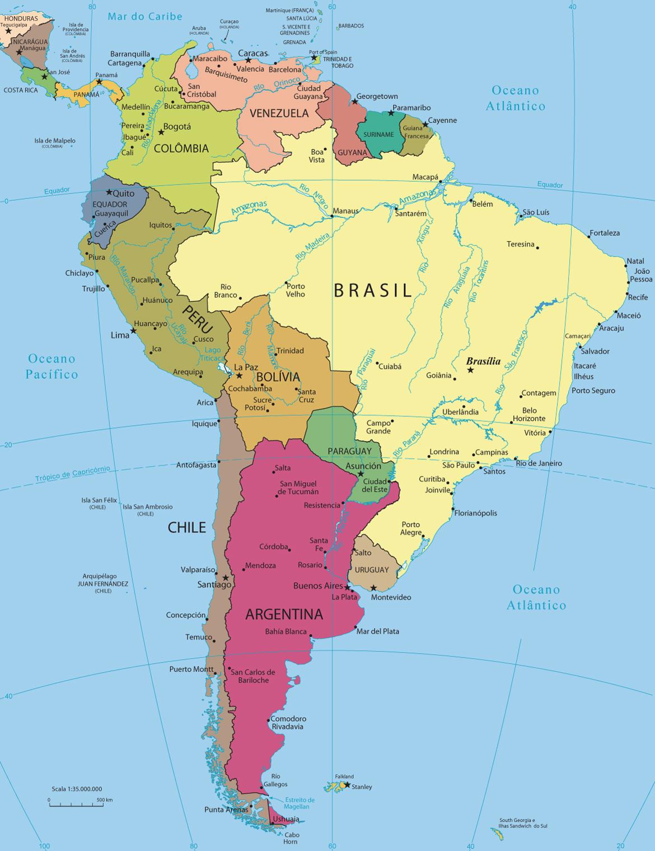 mapa da america Mapa Político da América do Sul mapa da america