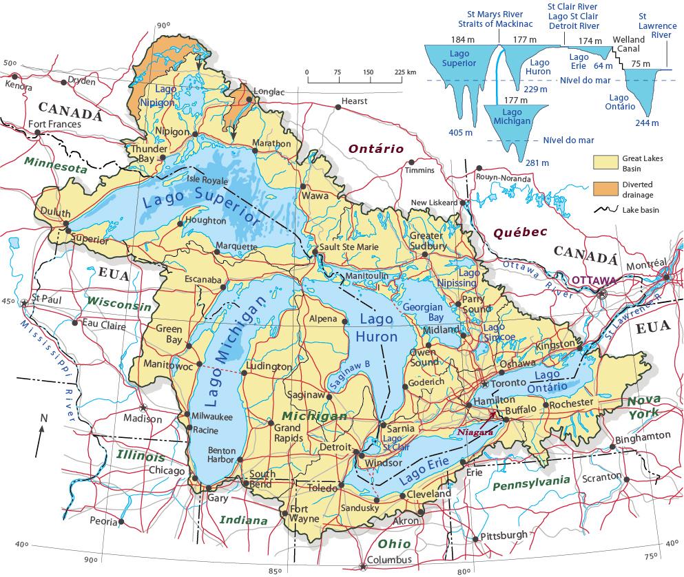 Canada Cataratas Del Niagara Mapa.Grandes Lagos Da America Do Norte
