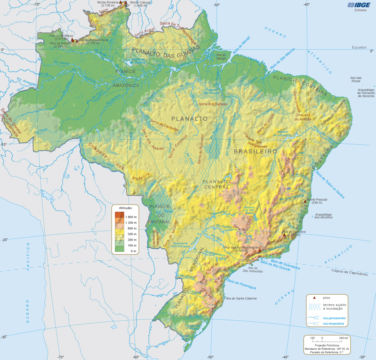 Online Maps: Brazil physical map