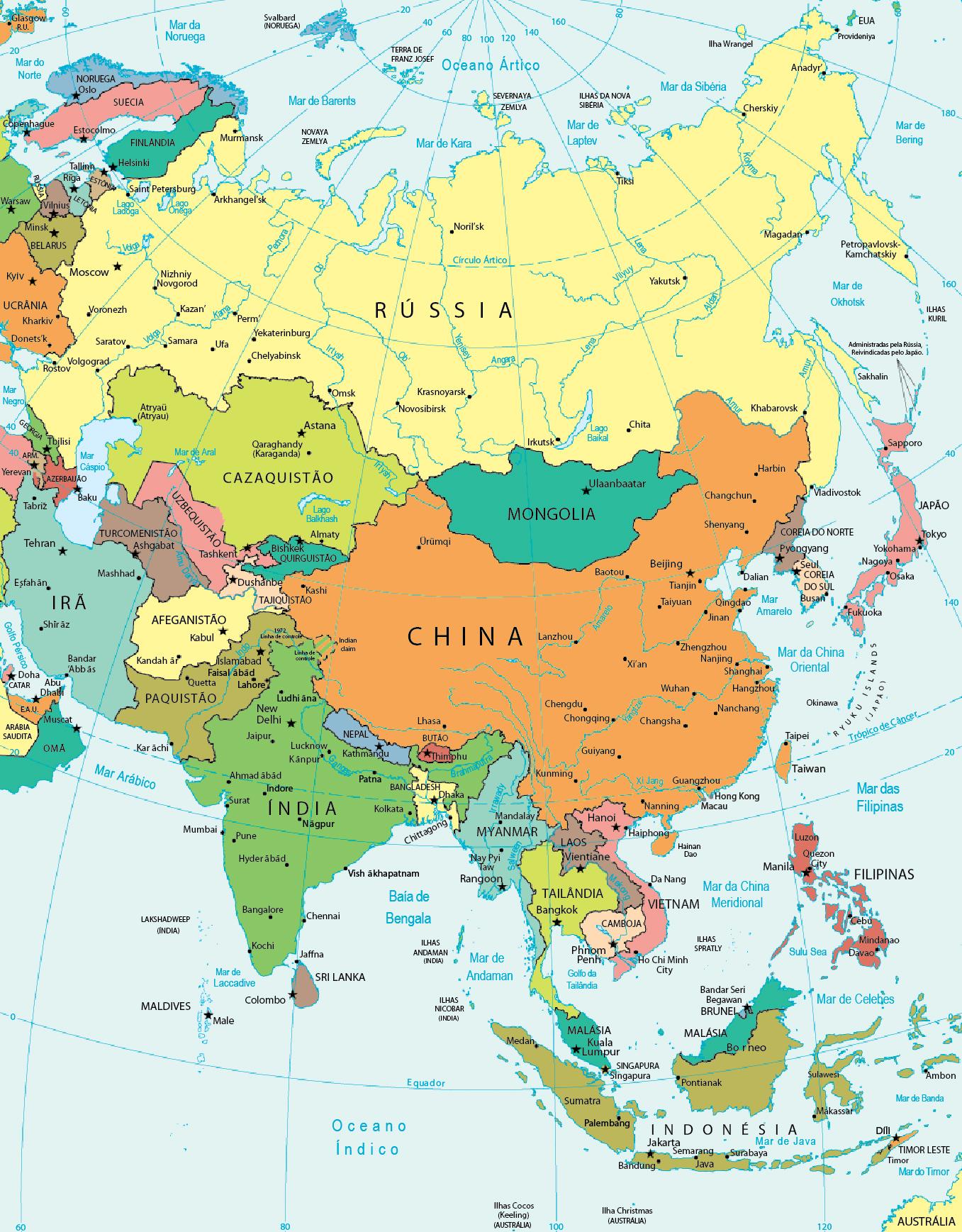 mapa de ásia Mapa Político da Ásia mapa de ásia